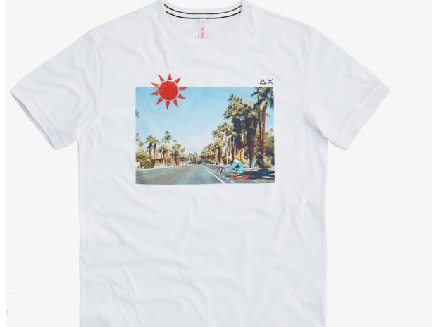 T-SHIRT ROUND PRINT PHOTO BIANCO/TURCHESE